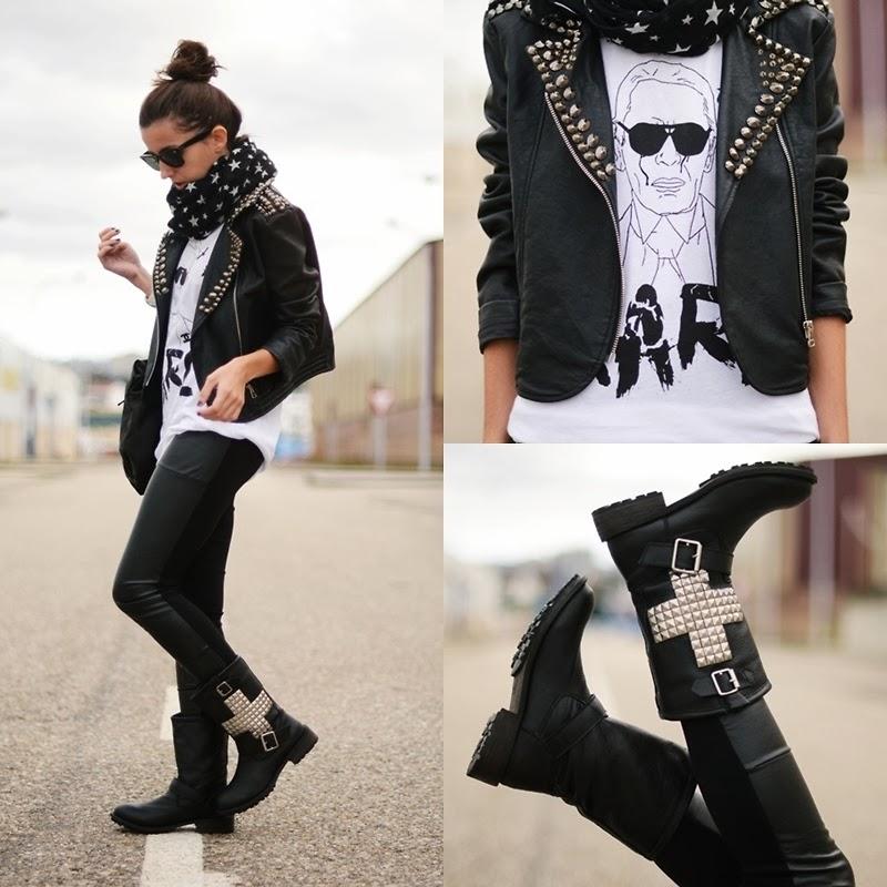 calça couro, bota spikes, camiseta branca, lenço estrela