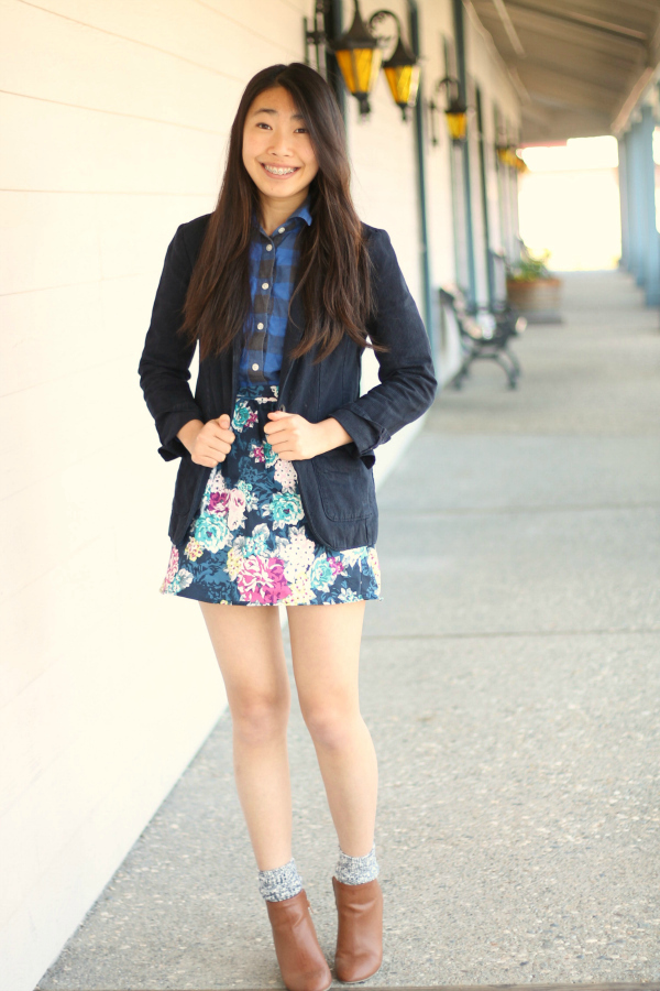 print mixing blazer outfit