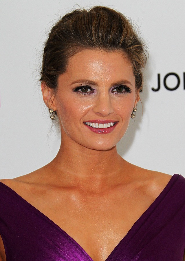 Stana Katic looks gorgeous in purple at the 20th Annual Elton John
