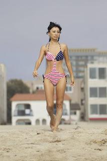 Bai Ling   in an American-flag bikini