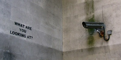 Banksy stencil, 'What are you looking at?' (CCTV)