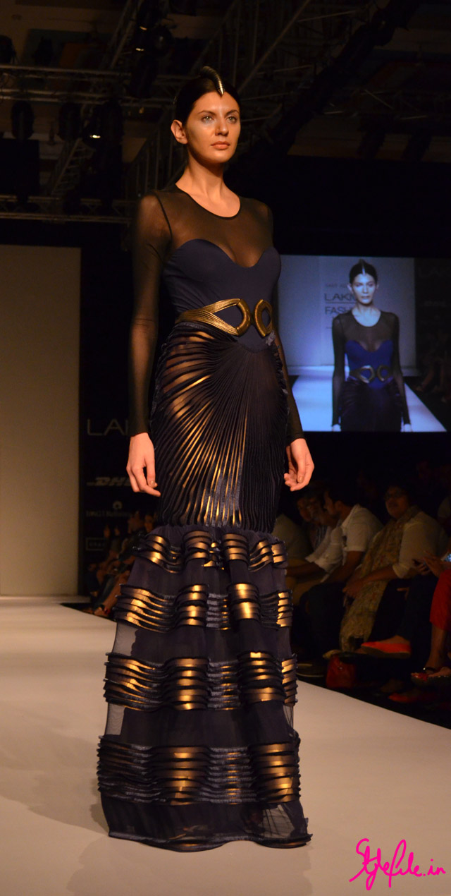 moulding metallic gown sheer for amit aggarwal at lakme fashion week 2013