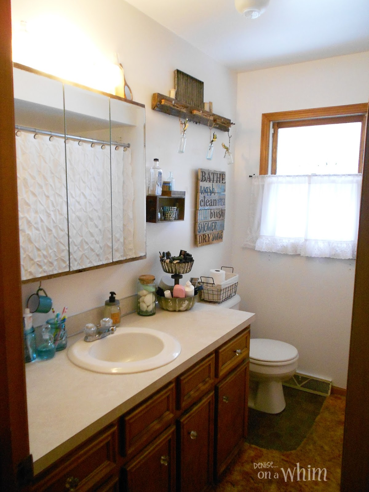 Denise on a whim vintage farmhouse bathroom makeover for Pictures of bathroom makeovers