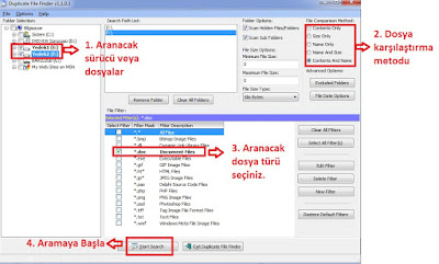 duplicate file finder kullanımı