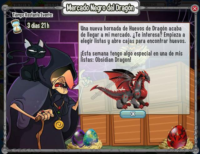 imagen del mercado negro con el dragon obsidian de dragon city