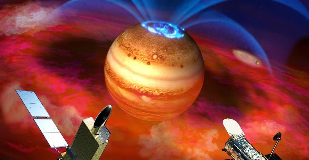 In this artist's rendering, flows of electrically charged ions and electrons accelerate along Jupiter's magnetic field lines (fountain-like blue curves), triggering auroras (blue rings) at the planet's pole. Accelerated particles come from clouds of material (red) spewed from volcanoes on Jupiter's moon Io (small orb to right). Recent observations of extreme ultraviolet emissions from Jupiter by satellite Hisaki (left foreground) and the Hubble Space Telescope (right) show episodes of sudden brightening of the planet's auroras. Interactions with the excited particles from Io likely also fuel these auroral explosions, new research shows, not interactions with particles from the Sun. Credit: Japan Aerospace Exploration Agency