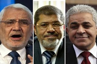 محمد مرسي و عبد المنعم ابو الفتوح و حمدين صباحى