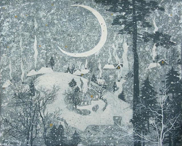 зима в живописи О. Архипова