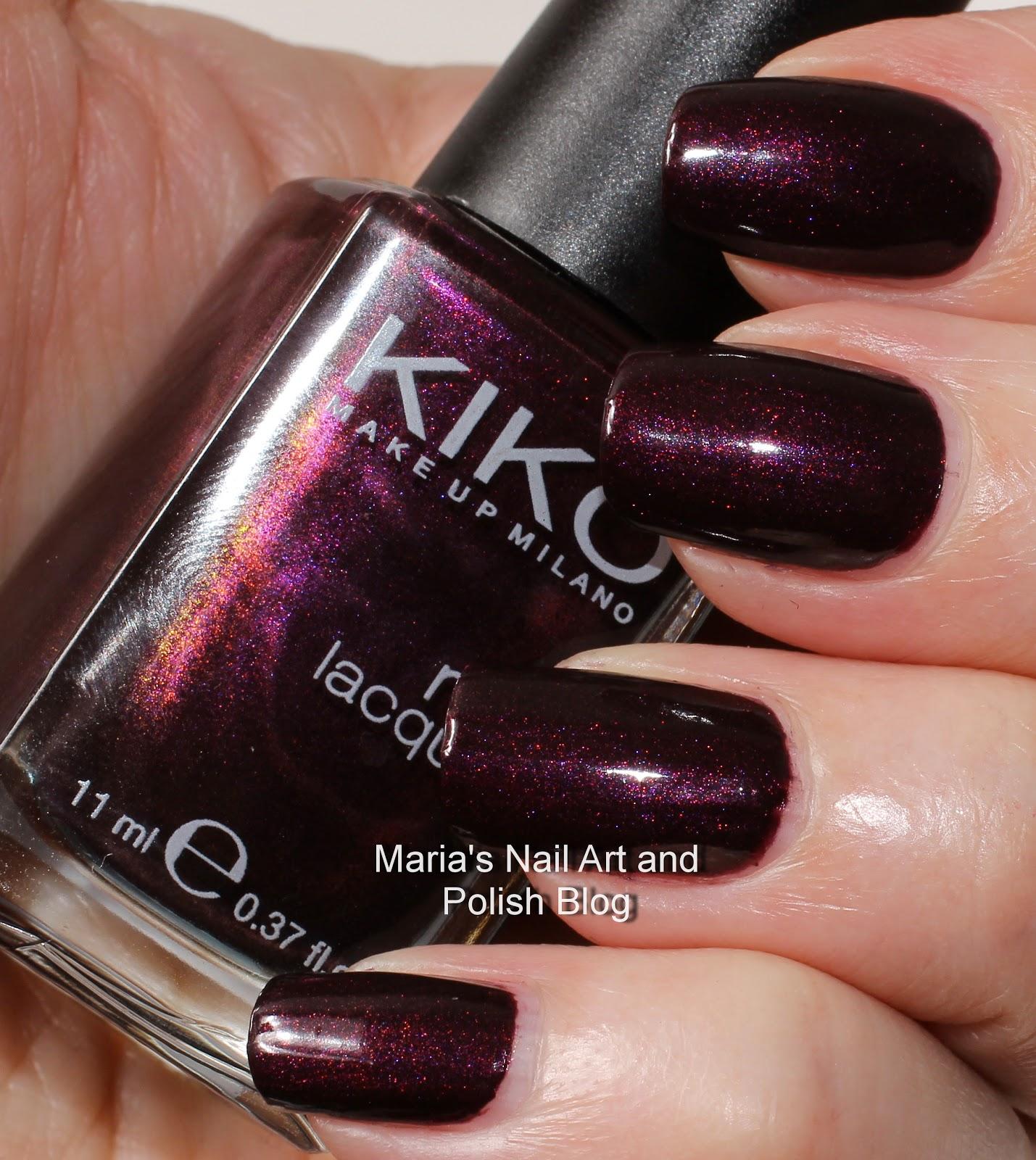 Marias Nail Art and Polish Blog: Kiko 245 Pearly Dark Ruby swatches