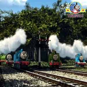 Blue Mountain Mystery Thomas and his friends Edward James Henry the green engine and Percy the train