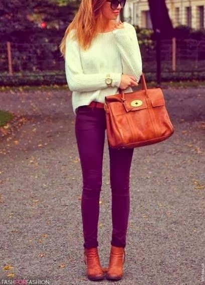 White Long Sleeve Sweater With Byzantium Pent And Brown Leather Hand Bag