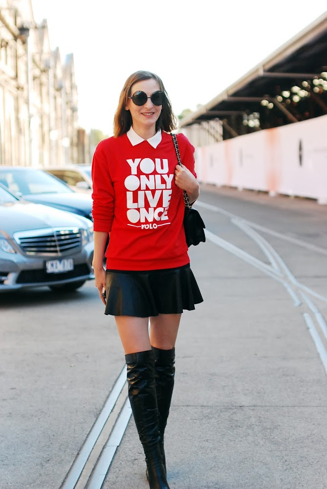 MBFWA 2013 Street Style Blogger Maria Crashing Red