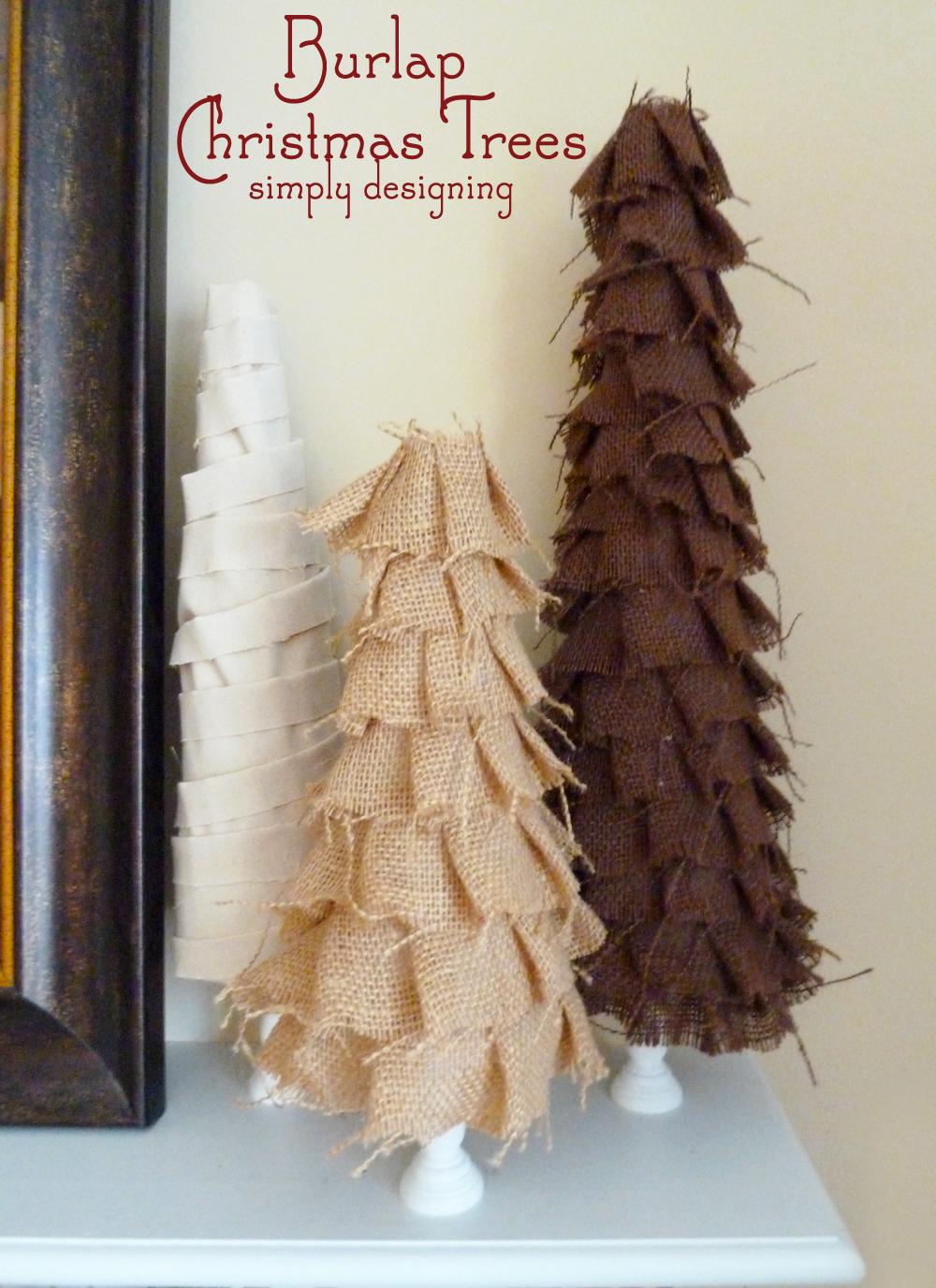 shabby ruffle burlap christmas trees - Burlap Christmas Tree
