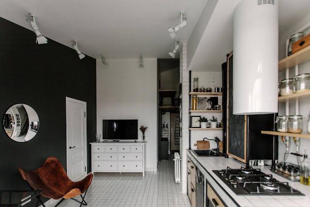 [Deco] Mini �tico de arquitecto con cocina en blanco y negro industrial