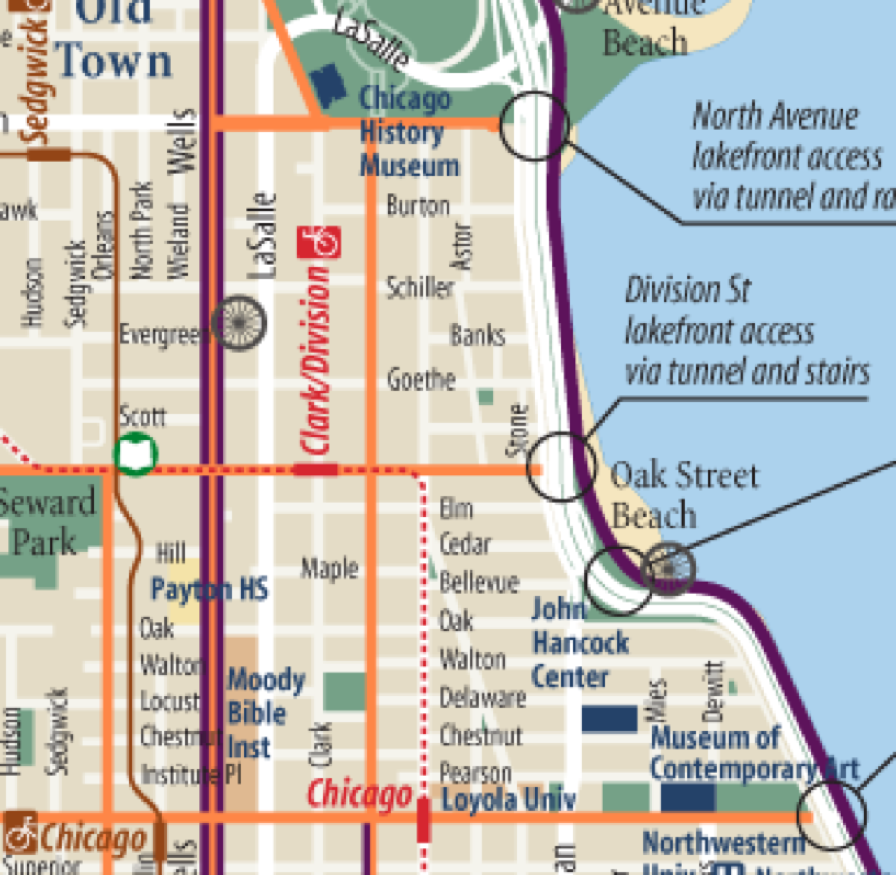 Bike Chicago Map line on the bike map