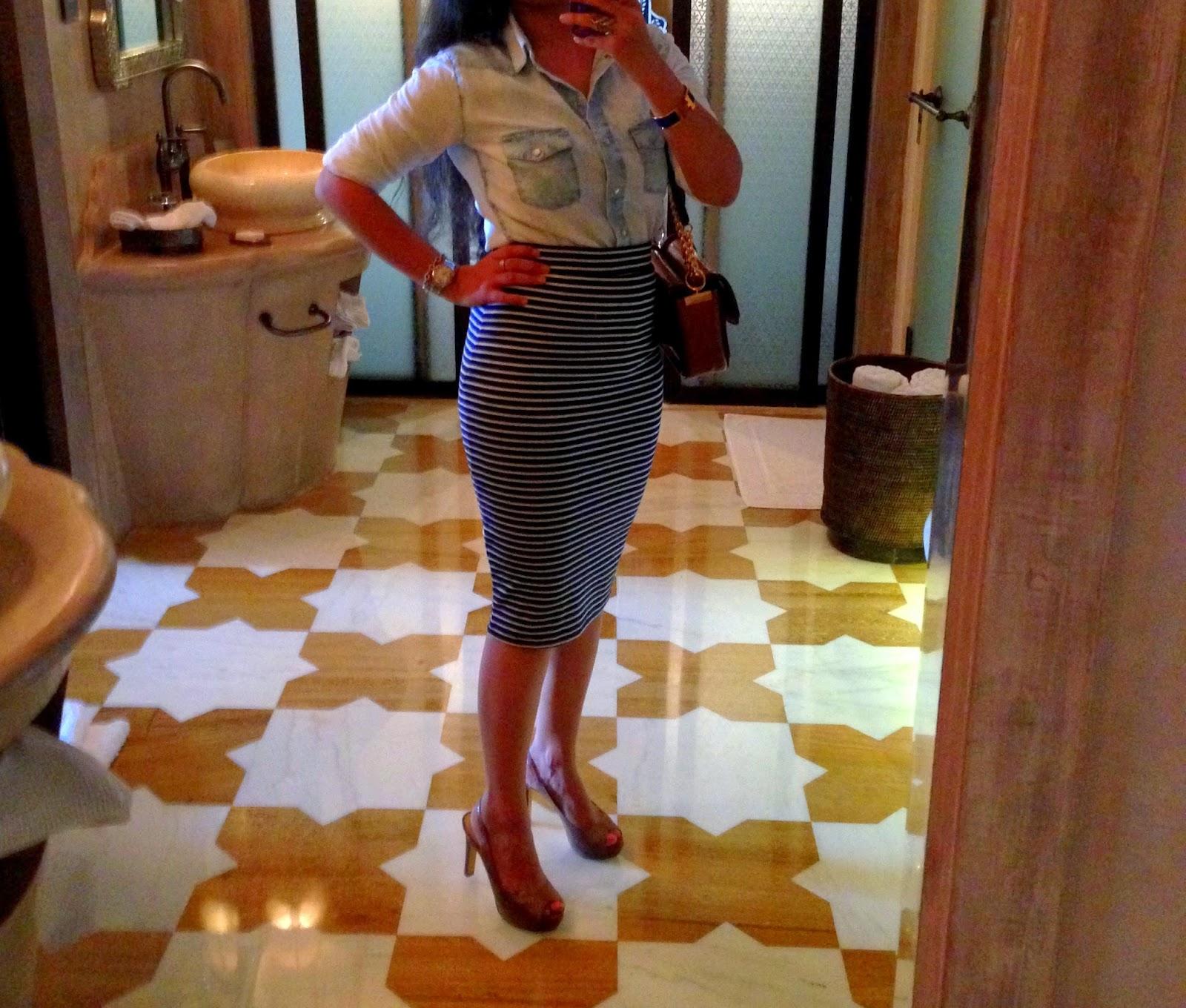 Striped Skirt and Denim Shirt - Vegan Fashion