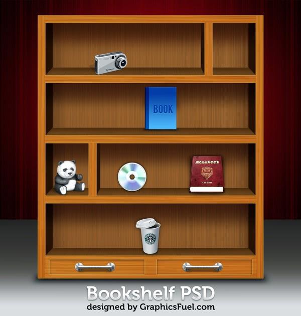 Wooden Bookshelf Icons PSD