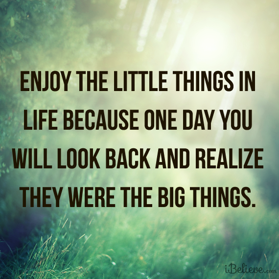 Enjoy The Little Things In Life Because One Day You Will Look Back