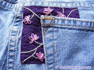 Como consertar calça jeans furada ou rasgada próximo ao bolso
