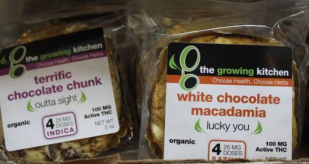 famosos cookies de chocolate e macadâmia com maconha, fabricados pela Growing Kitchen. Os coookies tem que ter no máximo 100 miligramas de THC.