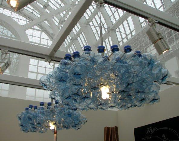 Babyblue water bottle chandelier water bottle chandelier mozeypictures Choice Image