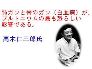 肺ガンと骨のガン(白血病)が、プルトニウムの最も恐ろしい影響である。高木仁三郎氏