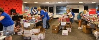 Care package donations being sorted