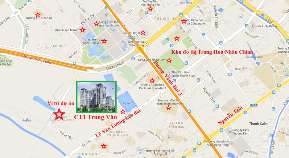 Chung cư CT1 Trung Văn nằm ở vị trí đắc địa mặt tiền đường Đỗ Đức Dục ngay trung tâm quận Nam Từ Liêm