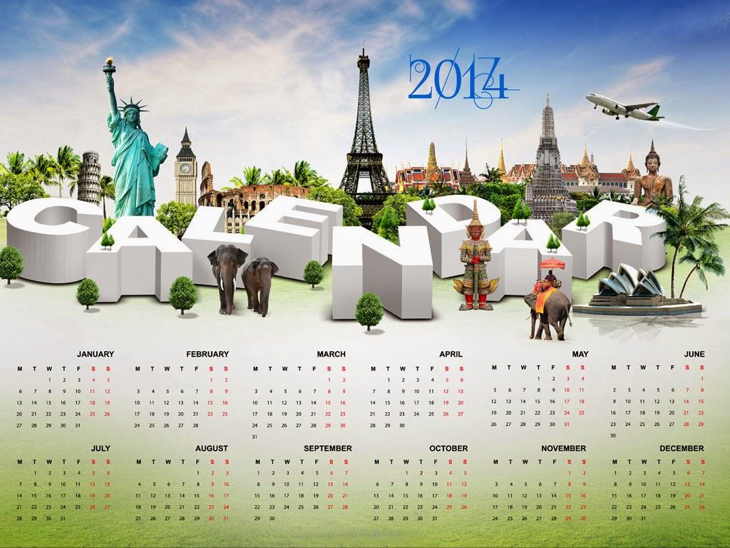 2014 calender for desktop background hd full screen