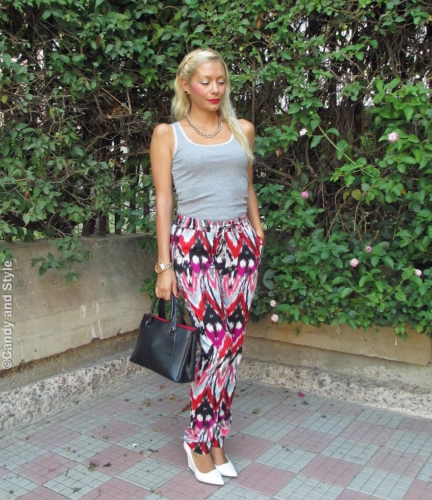 Tank, PrintedPants, WhiteWedges, ToteBag - Lilli Candy and Style Fashion Blog