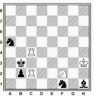 Estudio artístico de ajedrez compuesto por G. A. Umnov (1º Premio, Novogo Zhittya, 1988)