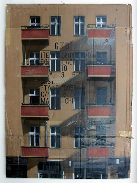 EVOL dibujos sobre carton, stenciled works on cardboard