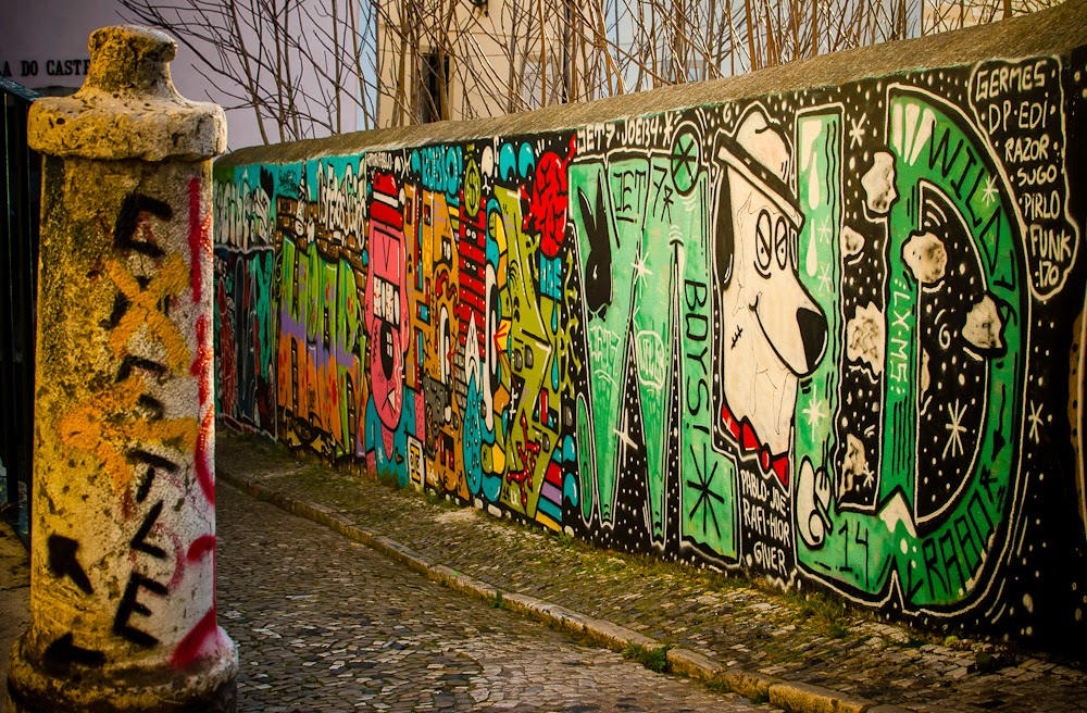 Graffiti and street art in lisbon portugal