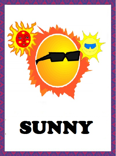 Kindergarten Worksheets: Weather Flashcards - Sunny