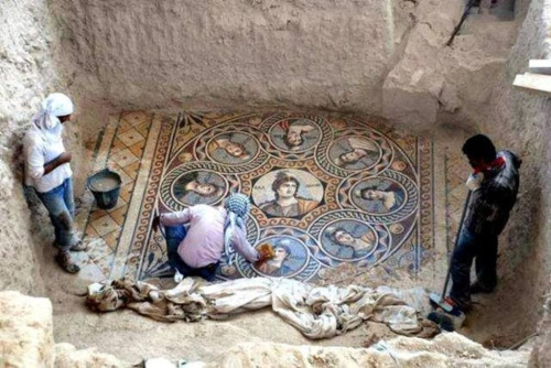 40 Amazing Historical Pictures - This stunning ancient Greek floor mosaic was just excavated in southern Turkey, near the Syrian border.