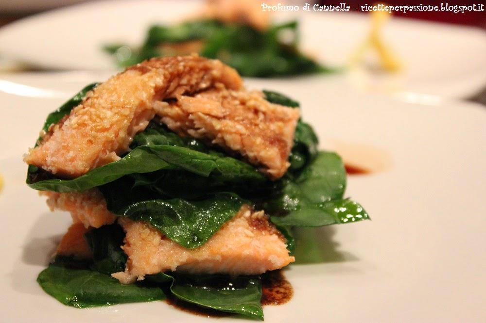 millefoglie di trota salmonata e spinaci freschi - la quiete dopo la tempesta