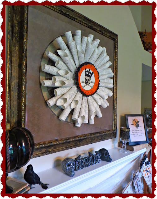 French Paper Wreath, Halloween decorations, paper crafting, skull and crossbones, skeleton