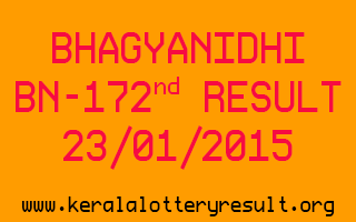 BHAGYANIDHI Lottery BN-172 Result 23-01-2015