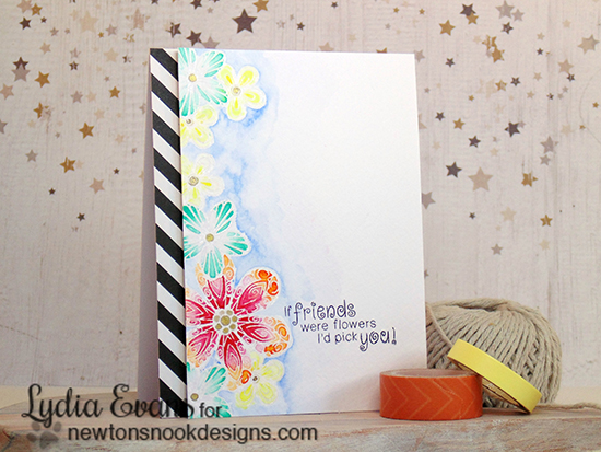 If Friends Were Flowers Watercolor Card by Lydia Evans | Beautiful Blossoms Stamp set by Newtons Nook Designs
