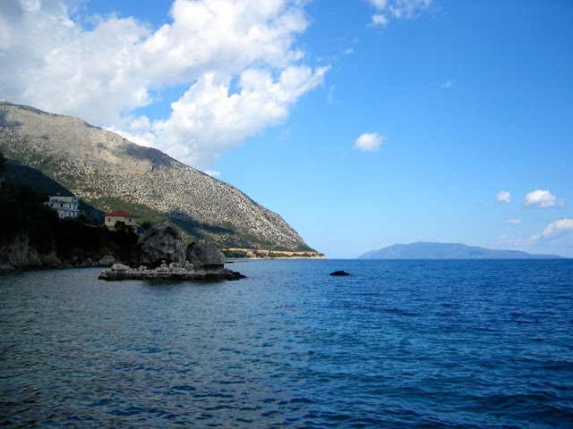 Rock formation in the ocean on the island of Kefalonia, Greece