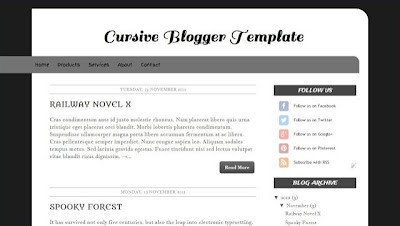 Cursive Blogger Template Fast Loading Template