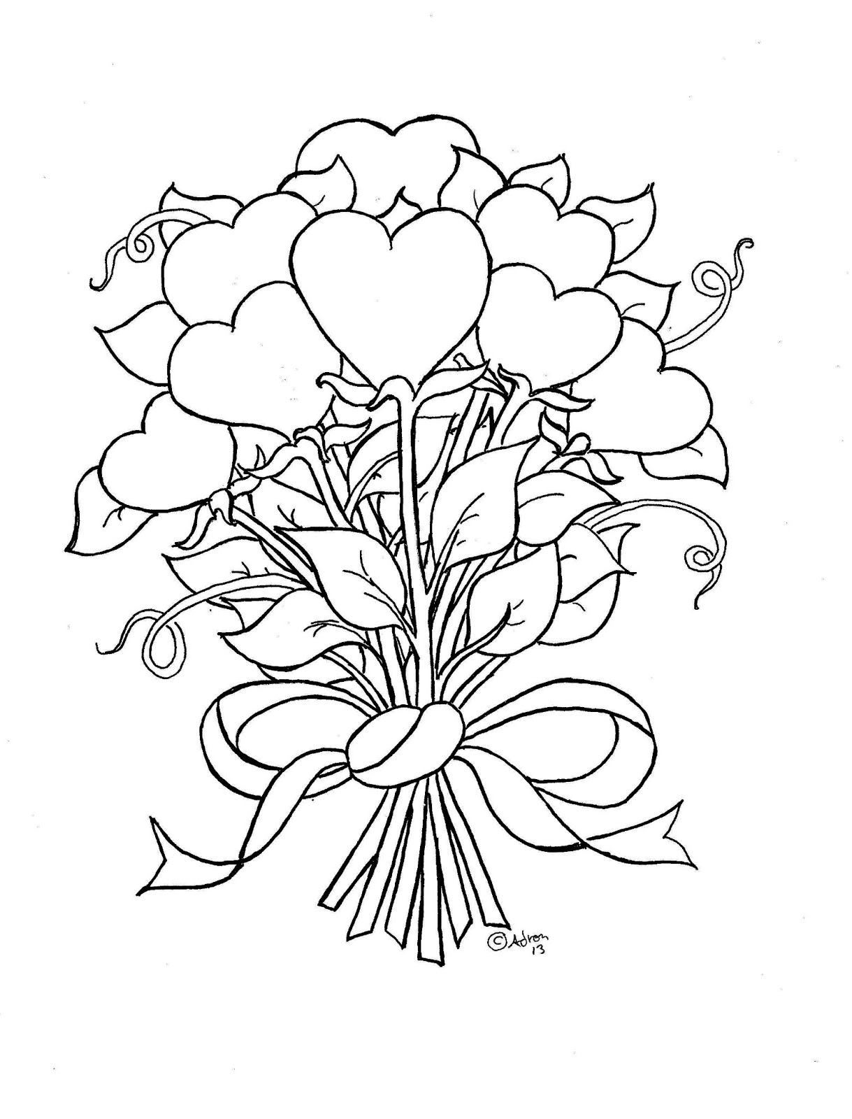 Coloring Pages for Kids by Mr Adron Flower Hearts Kid s Print and Color