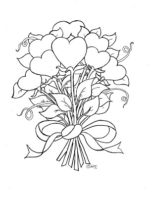 Hearts and Flowers Coloring Pages for Kids