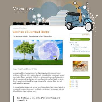 Vespa Love Blogger Template. blogger template from wordpress theme. girly blogger template