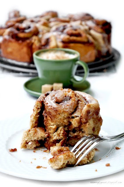 cinnamon roll piece Whole Wheat Cinnamon Rolls