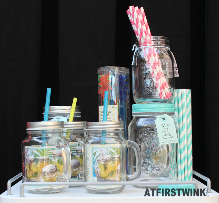 HEMA mason jars, striped paper straws and cocktail stirrers