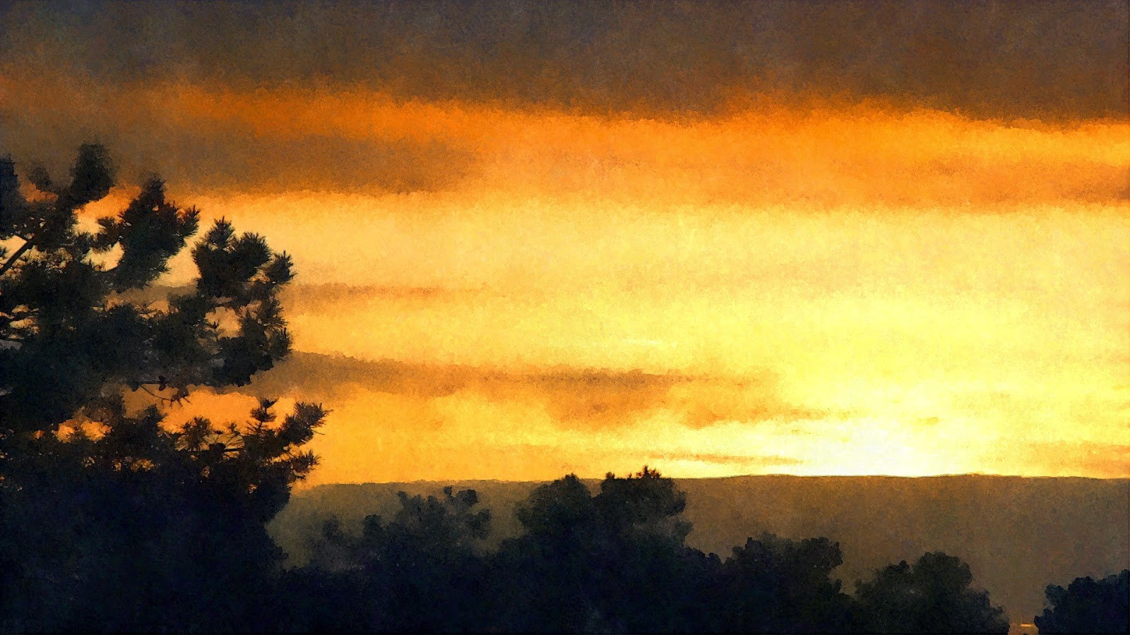 Pôr do Sol 28Feb15 (1920x1080)-FotoSketcher- pintura 1 aguarela