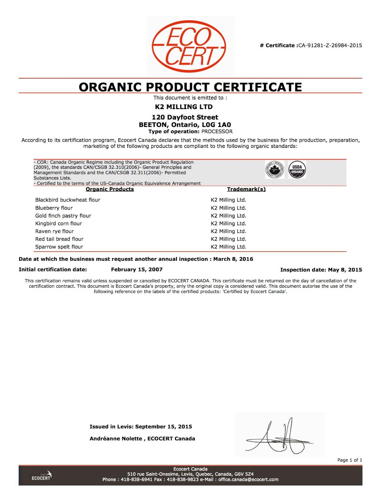 Organic certificate 2015/16