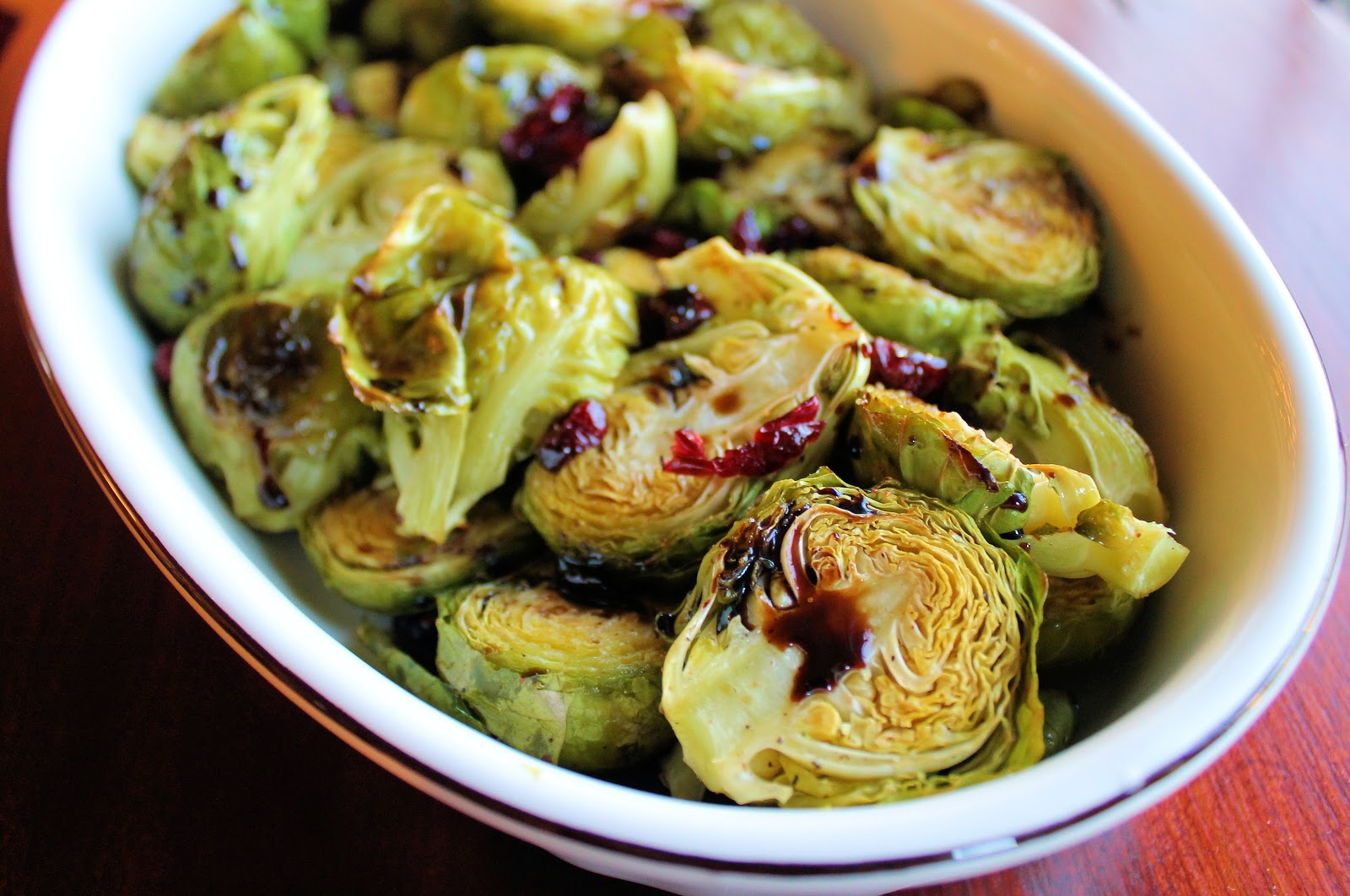 ... Brussels Sprouts with Cranberries and Balsamic Vinegar Reduction