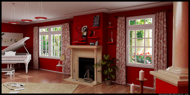 Red And White Living Rooms